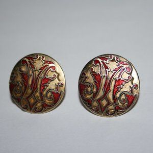 Vintage gold and red cuff links